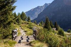 在一点小河的木桥在山场面 免版税库存图片