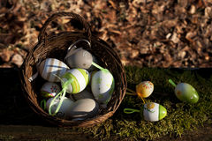 在一点篮子的复活节彩蛋 图库摄影