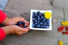 在一点childrenÂ的胳膊的新鲜水果 免版税图库摄影