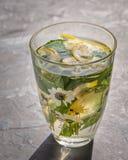 在一热的天止您的干渴用蜜蜂花和柠檬的一个冷饮 o 图库摄影