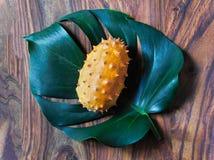 在一片热带叶子的kiwani果子 免版税库存图片