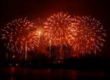 在一独立日期间,在河上的美丽,五颜六色的烟花 免版税库存图片