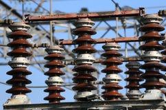 在一电子分站水力发电的powe的电开关 免版税库存图片