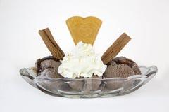 在一白色backgrou隔绝的玻璃盘的巧克力冰淇凌 免版税库存照片