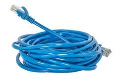 在一白色blackground的蓝色网络LAN缆绳 免版税库存照片