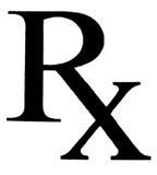 在一白色papper写的RX 免版税库存图片