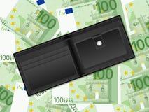在一百欧元背景的钱包 图库摄影