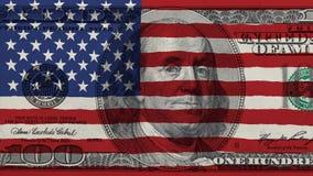 在一百的美国旗子美元钞票 库存照片