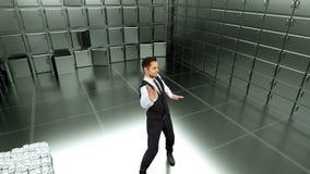 在一种成功的交易以后的年轻商人跳舞在绿色屏幕背景 使成环的动画 向量例证