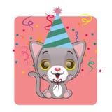 在一种欢乐心情的逗人喜爱的灰色猫 图库摄影