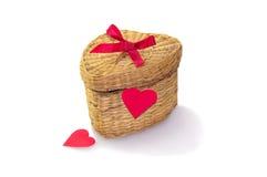 在一箱的礼物秸杆柳条 库存图片