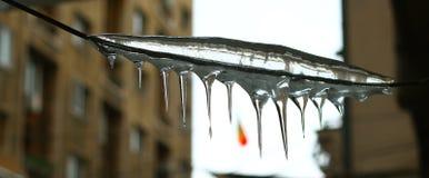 在一缆绳的冰在布加勒斯特 库存照片