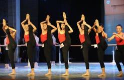 在一腿基本的舞蹈培训班的立场 免版税库存图片