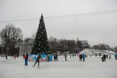 在一自由滑冰场的人乘驾 免版税库存图片