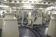 在一艘大船的停泊绞盘 库存照片