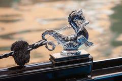 在一艘威尼斯式长平底船的海象,威尼斯,意大利 免版税图库摄影