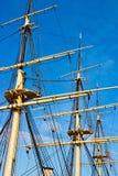 在一艘老船的Rigg 免版税库存照片