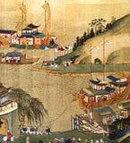在一艘船的中国丝绸壁画在口岸 库存照片