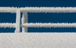 在一艘船的栏杆的树冰在北极 库存图片