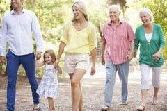 在一起国家步行的三一代家庭 免版税库存照片