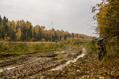 在一辆摩托车上在秋天森林里 库存图片