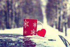 在一辆汽车的杯在冬天季节 库存图片