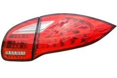 在一辆现代有名望的汽车的尾灯,隔绝在白色backgro 库存图片