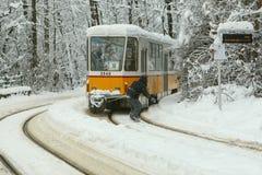 在一辆电车后的极端雪板乘驾在索非亚 免版税库存照片