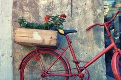 在一辆红色自行车的花在墙壁附近 图库摄影