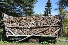 在一辆老木无盖货车堆的木日志 免版税图库摄影