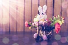 在一辆自行车的复活节兔子有花的 库存照片