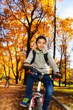 在一辆自行车的孩子在秋天公园 免版税库存图片