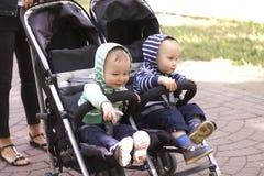 在一辆婴儿推车的两男孩孪生在街道 图库摄影
