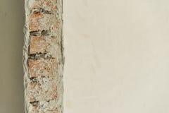 在一边涂灰泥的砖墙 图库摄影