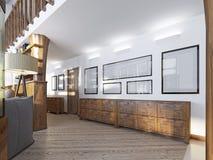 在一顶楼式的走廊与木铣板和绘画 库存照片