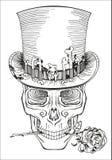 在一顶高顶丝质礼帽的人的头骨 库存例证