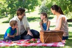 在一顿野餐的愉快的家庭在公园 库存图片