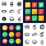 在一黑的象&白色徒手画被设置的颜色平的设计的快餐全部 免版税库存照片