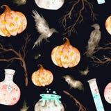 在一黑背景包括的不可思议的大锅、魔药瓶、棒、掠夺、分支和疯狂的pumpki的这个万圣夜无缝的样式 向量例证