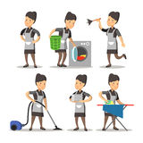 在一件经典制服的佣人动画片 清洁服务 皇族释放例证