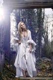 在一件古板的礼服的华美的白肤金发的秀丽 免版税库存照片