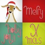 在一头当代五颜六色的瓦片设计、手工制造Lolli字体和jung鹿的圣诞卡 库存图片