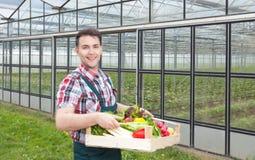 在一间温室前面的愉快的农夫有菜的 库存图片