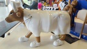 在一件白色长袍穿戴的好的母牛 免版税库存图片