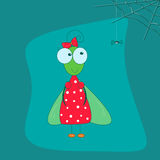 在一件红色礼服的滑稽的飞行有弓的和一部小蜘蛛动画片称呼在蓝色背景的pa 免版税图库摄影