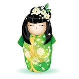 在一件绿色和服的日本全国kokeshi玩偶有白花和蜻蜓的样式的 在白色backgr的传染媒介例证 免版税图库摄影