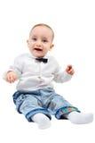 在一件衬衣的滑稽的孩子有蝶形领结的微笑 库存照片