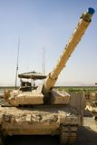 在一间车辆调配场的军事坦克在阿富汗。 免版税库存图片