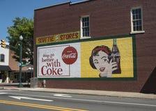 在一致,北卡罗来纳的可口可乐壁画 免版税库存照片