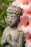 在一flowergarden的菩萨雕象与桃红色花 库存图片